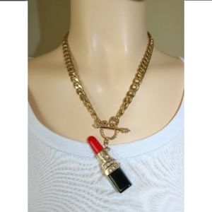 Red Gold Lipstick Gold Link Chain Neclace